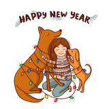 Vector New Year card with girl and brown dogs Royalty Free Stock Image