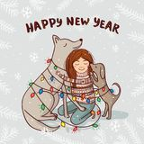 Vector New Year card with girl and dogs with snow Stock Photo