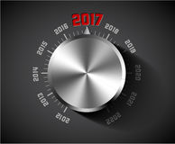 Vector 2017 New Year card for music lover. With big volume chrome knob - dark version Stock Illustration