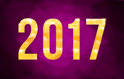 Vector 2017 New Year card. On polygonal violet background Stock Image