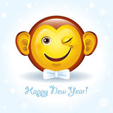 Vector new year card with a smiling face-monkey. Vector greeting card Happy New Year with a smiling face-monkey Stock Image