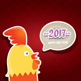 Vector new year 2017 with cartoon funny rooster. Happy Chinese new year 2017 with cartoon funny rooster , animal symbol of new year 2017. vector happy new year Royalty Free Stock Photography