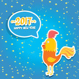 Vector new year 2017 with cartoon funny rooster Stock Photos
