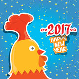 Vector new year 2017 with cartoon funny rooster. Happy Chinese new year 2017 with cartoon funny rooster , animal symbol of new year 2017. vector happy new year Stock Images