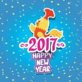 Vector new year 2017 with cartoon funny rooster. Happy Chinese new year 2017 with cartoon funny rooster , animal symbol of new year 2017. vector happy new year Stock Photos
