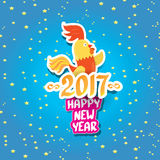 Vector new year 2017 with cartoon funny rooster Royalty Free Stock Photos