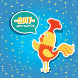 Vector new year 2017 with cartoon funny rooster. Happy Chinese new year 2017 with cartoon funny rooster , animal symbol of new year 2017. vector happy new year Stock Image