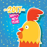 Vector new year 2017 with cartoon funny rooster Royalty Free Stock Image
