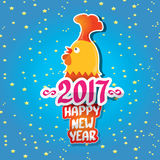 Vector new year 2017 with cartoon funny rooster Royalty Free Stock Photo