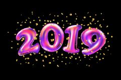 Vector New year 2019 celebration. pink foil balloons numeral 2019 and confetti on black background. 3d rendering stock illustration