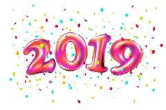 Vector New year 2019 celebration. pink foil balloons numeral 2019 and confetti on white background. 3d rendering art stock illustration