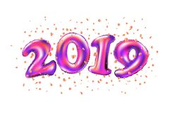 Vector New year 2019 celebration. purple foil balloons numeral 2019 and confetti on white background. 3d rendering art vector illustration