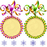 Vector New Year 2017 circle frame set. Purple and green. Vector New Year 2017 circle frame set isolated on white background. Purple and green streamer Stock Photos