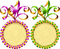 Vector New Year 2016 circle frame set. Purple and green streamer Stock Images