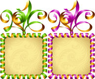 Vector New Year 2016 circle frame set. Purple and green streamer Stock Photos