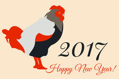 2017 Vector New Year Colorful Greeting Card with Rooster. Vector New Year Colorful Greeting Card with Rooster 2017 Stock Images