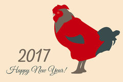 2017 Vector New Year Colorful Greeting Card with Rooster. Vector New Year Colorful Greeting Card with Rooster 2017 Royalty Free Stock Photos