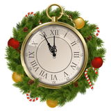 Vector New Year Concept with Clock. Isolated on white background stock illustration