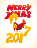 Vector New Year congratulation design. Vector New Year congratulation card design. Rooster, cock portrait cartoon illustration. Holiday postcard. Merry Stock Photography
