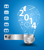 Vector 2014 new year with creative light bulb idea. 2014 new year with creative light bulb idea with drawing charts and graphs business success strategy plan Stock Image