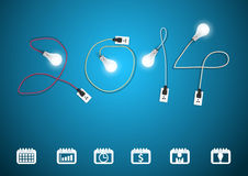 Vector 2014 new year with creative light bulb idea. 2014 new year with creative light bulb idea, Set of binder silhouettes collection with different icons Royalty Free Stock Photos