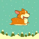 Vector New Year dog on winter forest background. Welsh corgi dog. for Xmas, New Year poster Royalty Free Stock Photography