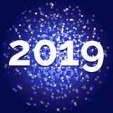 Vector New year 2019, fancy blue glitter design royalty free stock images