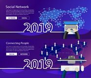Vector new year 2019 global network connection vector illustration
