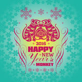2016: Vector New Year greeting card background with paper cut. 2016: Vector Chinese New Year greeting card background with paper cut. Year of the monkey, Asian Stock Photos
