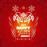 2016: Vector New Year greeting card background with paper cut. 2016: Vector Chinese New Year greeting card background with paper cut. Year of the monkey, Asian Stock Image