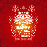 2016: Vector New Year greeting card background with paper cut.. 2016: Vector Chinese New Year greeting card background with paper cut. Year of the monkey, Asian Stock Images
