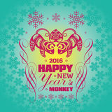 2016: Vector New Year greeting card background with paper cut. 2016: Vector Chinese New Year greeting card background with paper cut. Year of the monkey, Asian Royalty Free Stock Photo