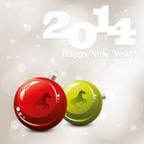 vector 2014 New Year greeting card Stock Photos