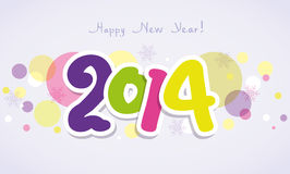 vector 2014  New Year greeting card Royalty Free Stock Photo