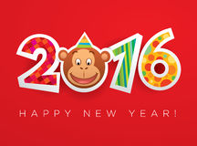 Vector New Year 2016 greeting card. Vector greeting card for New Year 2016, the Year of Monkey Royalty Free Stock Photography