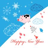Vector New Year greeting card with piglet stock illustration