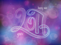 Vector new 2017 year greetings poster with hand lettering neon number on a blur background. Stock Photography