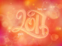 Vector new 2017 year greetings poster with hand lettering neon number   Royalty Free Stock Photography