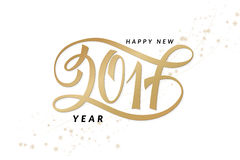 Vector new 2017 year greetings poster with hand lettering number.  Royalty Free Stock Photos
