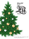 Vector new 2017 year greetings poster with hand lettering number. And big christmas tree, decorated white and golden christmas ornaments Stock Image