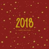 Vector New Year Holidays 2018 card. Snow and stars on red background.. Vector New Year Holidays 2018 card. Snow and stars on red background. Lettering hand Stock Photos