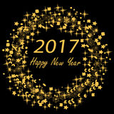 Vector 2017 new year. Vector illustration of 2017 new year background with wreath Royalty Free Stock Photos