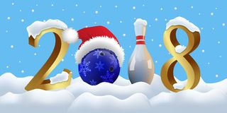 Bowling 2018 New Year sign with bowling ball and skittle on snowing background. Vector New Year illustration. Stock Images