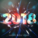 Vector 2018 New Year illustration on bright bokeh background . Vector 2018 New Year illustration on bright bokeh background with blurred lights Royalty Free Stock Images