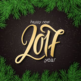 Vector new 2017 year lettering golden numbers with a spruce frame.  Stock Photo