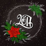 Vector new 2017 year lettering numbers with a frame, poinsettia flower  Stock Image