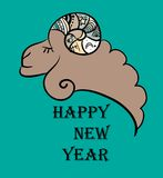 Vector New Year 2015 logo with sheep. On the colorful background Royalty Free Illustration