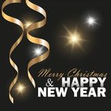 Vector 2019 New Year Black background with gold glitter confetti. Festive design stock images