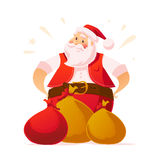 Vector New Year and Merry Christmas design concept. Cartoon style. Santa Claus character portrait and gifts isolated on white background. Good for xmas Royalty Free Stock Photos
