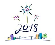 Vector of 2018 new year number firework floating over cityscape. In doodle cartoon style,Holiday celebration concept Stock Photography